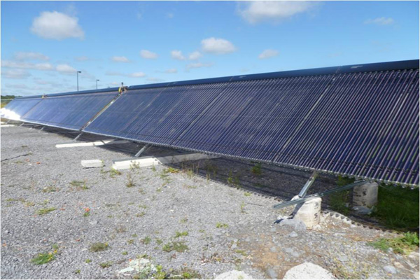 Half of 95m^2 vacuum-tube solar array installation at Queen's University's Thermal Systems Test Site